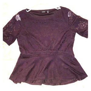 Purple dressy shirt.